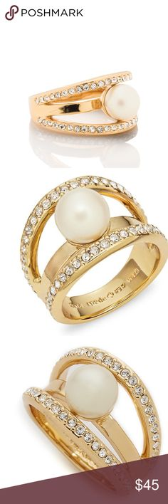 Kate Spade Purely Pearly Ring Size 6 It's always a good time to add a little shine with this completely sold-out, five star rated Kate Spade Purely Pearly ring! * Shiny 12-karat gold plated metal with pave crystals and faux pearl * Size 6 * New without tags  🛍 Purchase from suggested user, Livy's Treasures, for guaranteed same day shipping and a free gift with every purchase!  💕 Be thrilled with your shopping experience at my closet or get your money back! kate spade Jewelry Rings