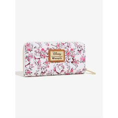 Loungefly Disney The Aristocats Marie Vintage Floral Wallet ($40) ❤ liked on Polyvore featuring bags, wallets, floral print bags, cat bag, white bag, flower print bag and vintage floral bag