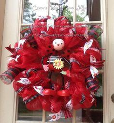 Hey, I found this really awesome Etsy listing at https://www.etsy.com/listing/130817983/ladybug-mesh-wreath-ladybug-wreath-deco