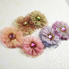 Prima Flowers: Ballerina Blooms Dorae Silk Glittered Fabric Flowers with Rhinestone Center