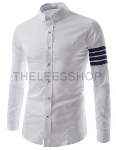 (CEL55-WHITE) Mens Slim Fit Button Down Chest Pocket 4 Stripe Patch Long Sleeve Shirts