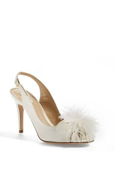 Fancy wedding shoe! Love the feather detail on this Kate Spade slingback pump.