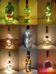 Alcohol Bottle Lamps Christmas Xmas Gift Christmas Present Flaschen Weihnachtsgirlande The post Alcohol Bottle Lamps Christmas Xmas Gift Christmas Present appeared first on Lampe ideen. Diy Bottle, Wine Bottle Crafts, Bottle Art, Alcohol Bottle Crafts, Alcohol Bottle Decorations, Crafts With Wine Bottles, Wine Bottle Centerpieces, Recycled Glass Bottles, Christmas Presents