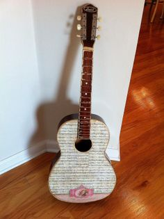 Sheet Music Acoustic Vintage Guitar - Pink Rare Bird Detail, Music Wall Art