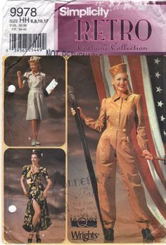 Simplicity 9978  Misses Retro Costume Pattern  1940s Rosie the Riviter, WAC Nurse Singer Dancer womens sewing pattern by mbchills