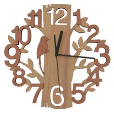Giftgarden Wooden Wall Clock in Family Tree Shaped Design