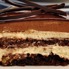 These are the seven layers of the Torta Setteveli: 7th layer (top layer): Chocolate Glaze, 6th layer: Chocolate Mousse, 5th layer: Hazelnut Bavarian Cream, 4th layer: Chocolate Sponge Cake, 3rd layer: Hazelnut Bavarian Cream, 2nd layer: Praline Crunch, 1st layer (bottom layer): Chocolate Sponge Cake.. Torta Setteveli Recipe from Grandmothers Kitchen.