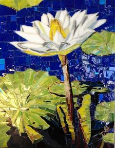 WATER LILY by Larissa Strauss. Glass mosaic, 11 x 8, 2012, Available.