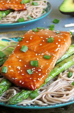 Teriyaki Salmon With Soba Noodles, Tender-Crisp Asparagus And Avocado | @yummyaddiction