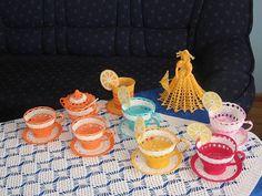 CROCHET TEA CUP Sculpture with lemon crochet lace by irena1305, $19.00