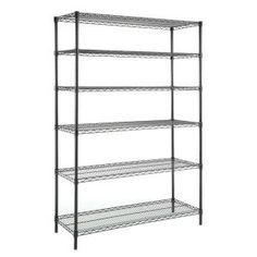 HDX 48 in. x 18 in. x 72 in. Wire Shelving Unit in Black at The Home Depot - Mobile Steel Shelving Unit, Wire Shelving Units, Shelving Racks, Shelving Systems, Dry Food Storage, Wire Storage, Black Shelves, Metal Shelves, Corner Storage Unit