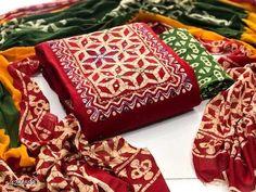 Women's Cotton Batik Print Dress Material With Dupatta