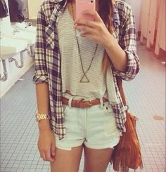 Flannel. High-Waisted Shorts.