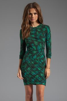 Torn by Ronny Kobo Tara Pleated Tonal Snake Dress in Green from REVOLVEclothing