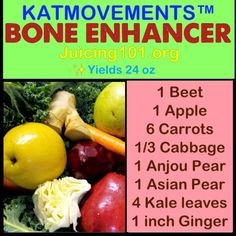 Juicing Vegetables &  Juicing Vegetables & Fruit  ✨⭐BONE ENHANCER⭐✨  ☝This healthy juice recipe is loaded with nutrients to help keep your bones strong and nourished! Pears and kale are excellent choices of food for improving bone health!   ❤TO EXCEPTIONAL LOVE AND HEALTH!❤    Kat  =^.^=    www.facebook.com/...  https://www.pinterest.com/pin/17310779796259858/   Also check out: http://kombuchaguru.com