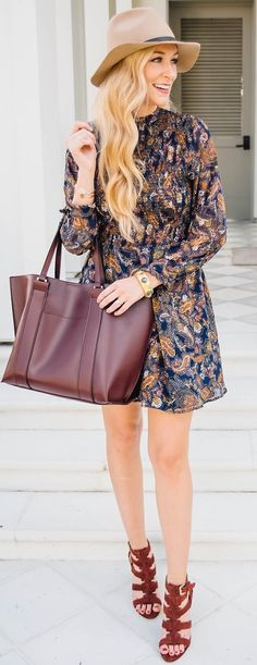 #fall #trending #outfits |  Paisley Smocked Dress