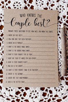 bridal shower ideas Bridal Shower Question Game, Bridal Shower Games Prizes, Wedding Shower Games, Bachelorette Party Games, Bridal Shower Party, Wedding Games, Our Wedding, Wedding Planning, Dream Wedding