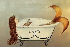 Mermaid Wall Art Acrylic Painting Mermaid Bathroom Art Clawfoot Tub Bubblebath Art Print