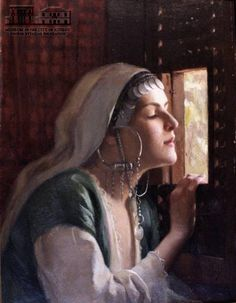 THEODOROS-IAKOVOS RALLIS (16.2.1852 - 2.10.1909)  Young woman looking out of the window