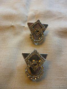 Set of 2 Screwback Geometric Rhinestone by PamelaMurphyVintage, $12.00