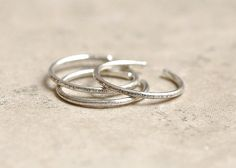 3 Silver Stacking Rings Sterling Silver Adjustable by thewingthing