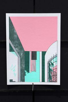 Poster/Maison Pièce du bout Choisi ta porte. Mais où est la clef de la porte ? 4 colors screen-printed images 16x24 price : 10€ unity