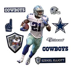 """Ezekiel Elliot Dallas Cowboys JUNIOR size wall decal by Fathead 1'6""""W x 2'8""""H -- Awesome products selected by Anna Churchill"""