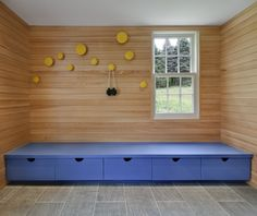 Modern mudroom with exterior cypress siding, yellow Muuto Dots, century house by O'Neill Rose, Hidden Hollow, Remodelista Vestibule, Modernisme, Long House, Muuto, Interior Architecture, Interior Design, Built In Storage, Bench Storage, Mudroom