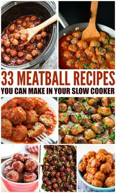 33 Slow Cooker Meatball Recipes - Beef Pork Chicken Turkey Venison Vegan and more! Click the pic to find your favorite slow cooker meatballs. - April 14 2019 at Beef Meatball Recipe, Frozen Meatball Recipes, Crock Pot Meatballs, Meatball Meals, Slow Cooker Frozen Meatballs, Recipes With Meatballs, Cocktail Meatballs Crockpot, Party Meatballs, Dinner With Meatballs