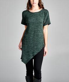Look what I found on #zulily! Olive Sweater Knit Asymmetrical-Hem Tunic #zulilyfinds
