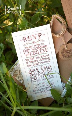 Burlap Twine & Lace Wedding Invitation  Rustic