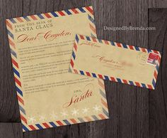 This is a vintage style airmail letter from the big guy in the North Pole, Santa Claus ... your kids will love it during the holidays! The postmark, stamp and red & blue border give it a great rustic feel. While it is a digital file, it is NOT an instant download. I will add your custom wording and format it, so that its easy for you to quickly download and print at home. The finished digital file can be sized to your specifications, and will be emailed to you as a jpeg or pdf file. No p...