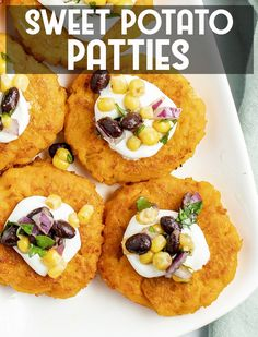 Sweet potato patties are a new way to enjoy sweet potatoes, savory instead of sweetened Best Thanksgiving Recipes, Easter Recipes, Holiday Recipes, Sweet Potato Patties, Sweet Potato Pancakes, Tasty Vegetarian Recipes, Healthy Recipes, Healthy Food, Sweet Potato Recipes