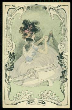 GASTON NOURY Art Nouveau Postcard Shoe Fashion Woman Ties Her Laces   eBay
