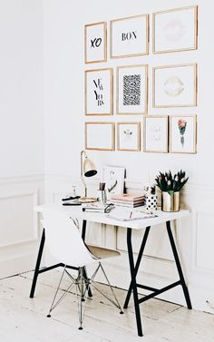Gold and White Wall Decor Best Of White and Gold Fices An Elegant and Inspiratio… – Home Office 2020 Home Office Space, Office Workspace, Office Walls, Home Office Design, Home Office Decor, Diy Home Decor, Office Setup, Office Spaces, Mini Office