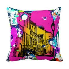 urban paint graffiti cityscape city scene throw pillows