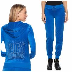 4e1c74700e6f NWT Juicy Couture Tracksuit Women Velour Embellished Jacket Jogger Pants  xsmall