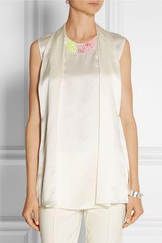 3.1 Phillip Lim|Embellished hammered-silk top|NET-A-PORTER.COM