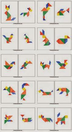 Not Pattern Blocks – but Tangram Preprints! Math Games, Toddler Activities, Learning Activities, Kids Learning, Kindergarten Math, Teaching Math, Preschool Activities, Tangram Puzzles, Math For Kids