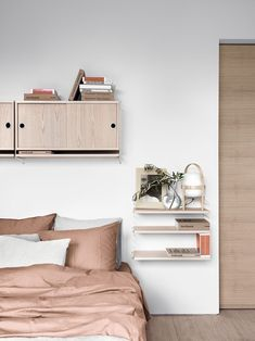 soft earthy tones and String shelving