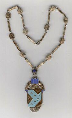 Fantastic Fahrner Enamel pendant necklace