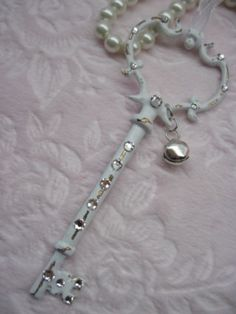 Shabby chic white key with bling!