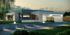 Find home projects from professionals for ideas & inspiration. Projekt domu HomeKONCEPT 58 by HomeKONCEPT Small Modern House Exterior, Modern Bungalow House, Modern House Facades, Dream House Exterior, Modern Architecture House, Modern House Plans, Flat Roof House, Facade House, House Construction Plan