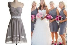 Gray Bridesmaid Dresses, Affordable Custom Silver Gowns | Tulle & Chantilly