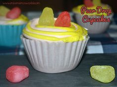 Miss Mamo shares her recipe for pear drops cupcakes in edible cases for National Cupcake Week 2014. A delicious sponge with pear drops inside and out!