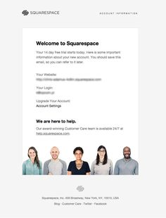 Welcome to squarespace - transactional email - Inspiring newsletters
