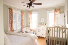We have a fairly large master bedroom, a small guest room, and another smallish bedroom that acts as my office. In order to keep our guest room as long as Apartment Nursery, Nursery Nook, Nursery Ideas, Chic Nursery, Nursery Rugs, Shared Baby Rooms, Shared Bedrooms, Small Guest Rooms, Small Master Bedroom