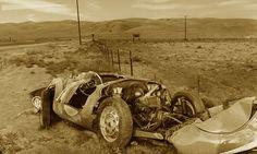 Unknown James Dean crash image. Sanford Roth?
