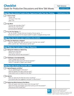 Here's a checklist of productive talk strategies.