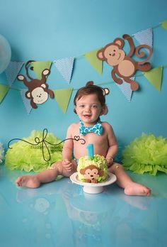 Monkey Themed Smash Cake in Blue & Green | Southington, CT Smash Cake Photographer Elizabeth Frederick Photography www.elizabethfrederickphotography.com